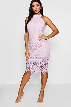 Lace High Neck Sleeveless Midi Dress