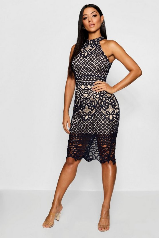 Lace High Neck Sleeveless Midi Dress