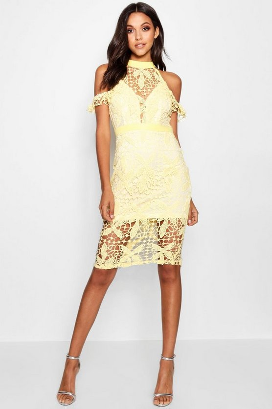 Womens Lace Cold Shoulder Midi Dress