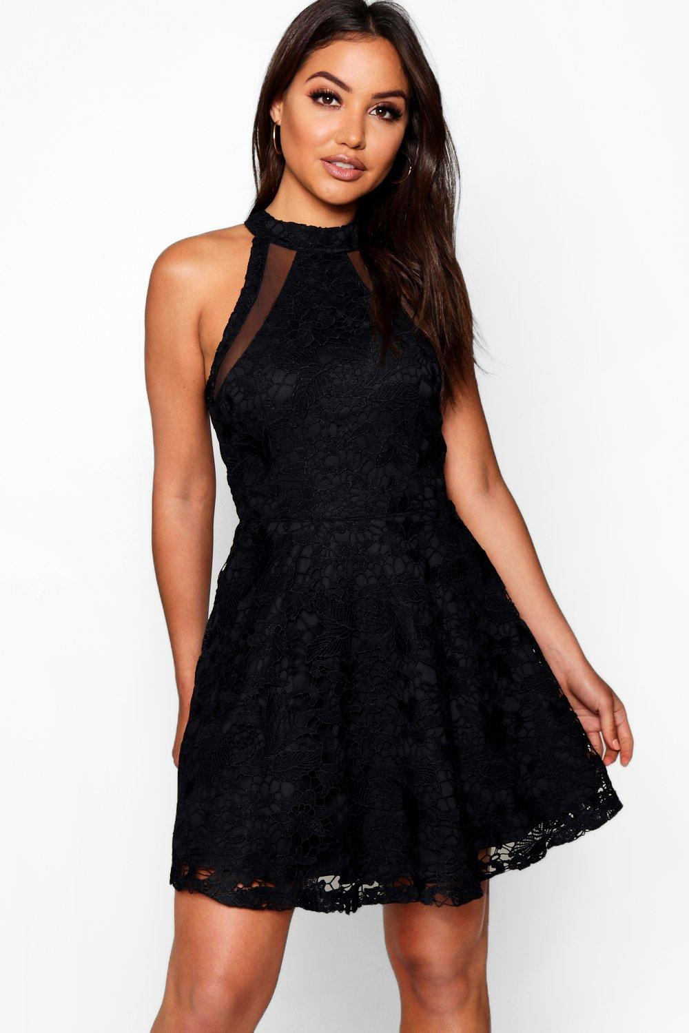 Lace High Neck Skater Dress. Hover to zoom e56e5cf0b