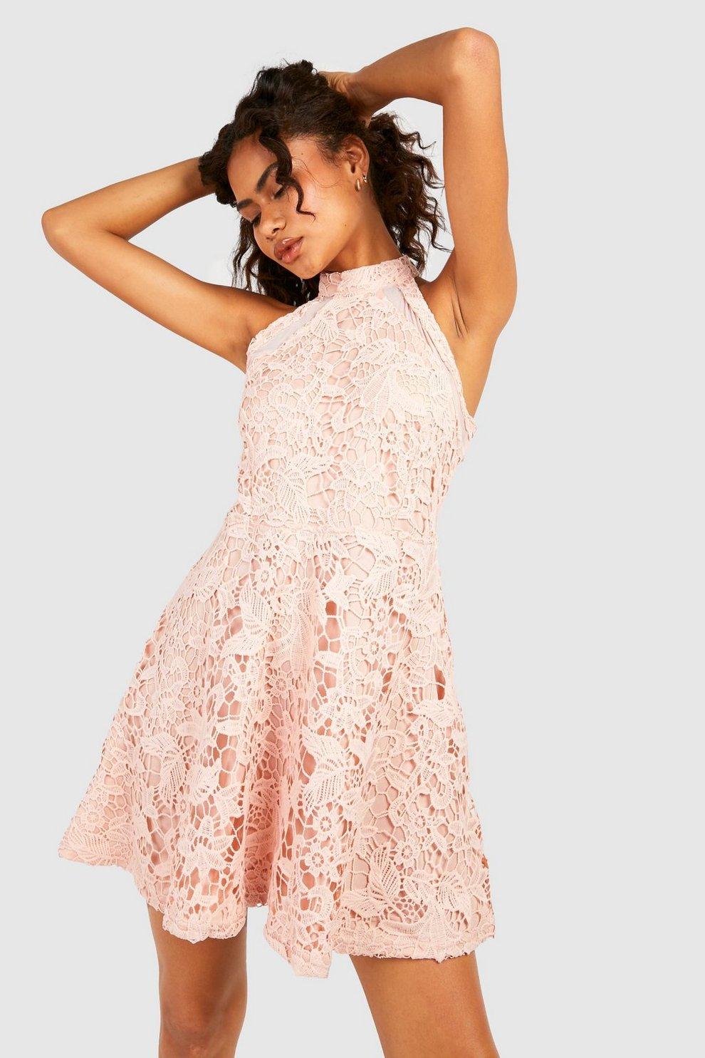 2ac44ff1213 Womens Blush Lace High Neck Skater Dress