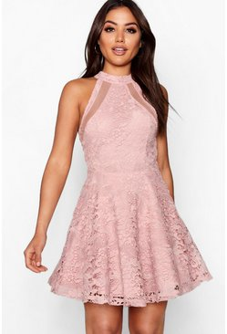Womens Blush Lace High Neck Skater Dress