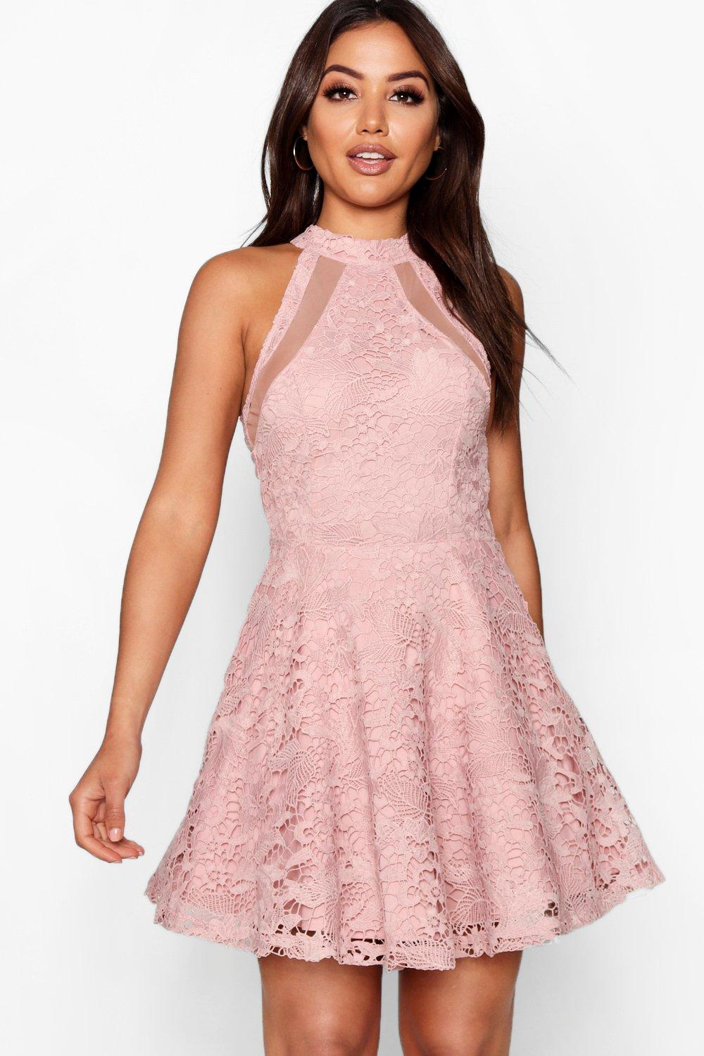 be464bf45967 Lace High Neck Skater Dress. Hover to zoom