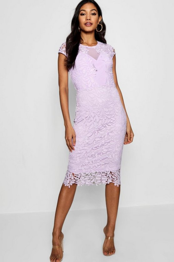 Lace Mesh Deatil Cap Sleeve Midi Dress