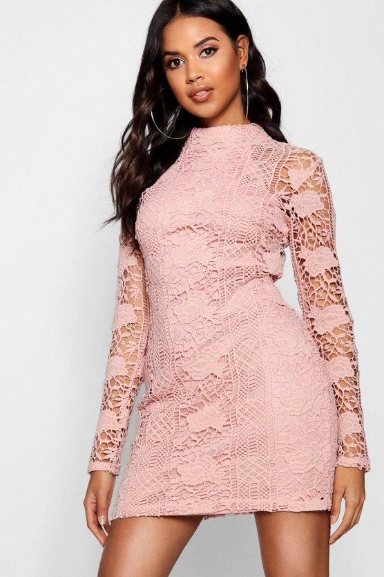 Womens Blush Lace Panelled High Neck Bodycon Dress