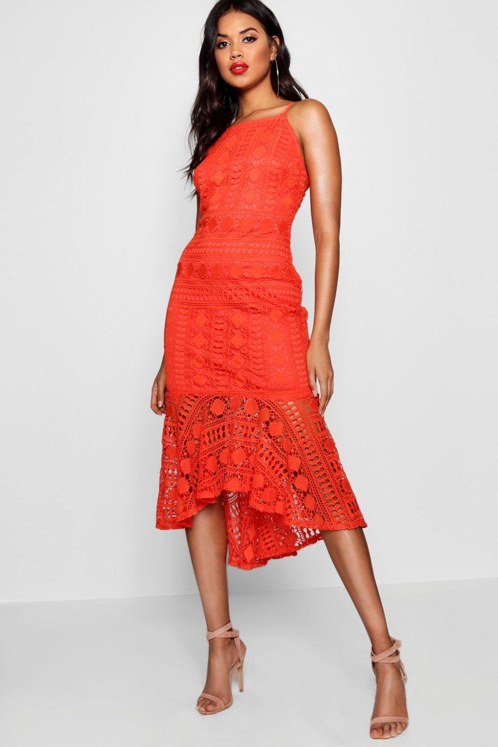 55f8d0286e72 Lace Ruffle Hem Detail Midi Dress | Boohoo