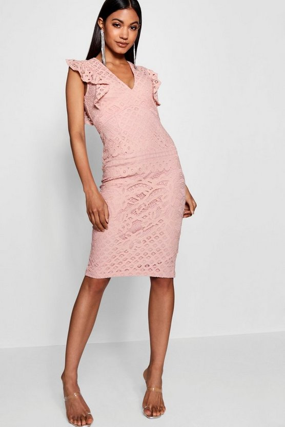 Lace Ruffle Sleeve Detail Midi Dress