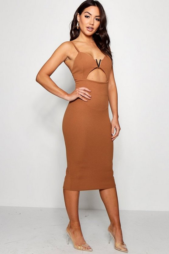 V Bar Cut Out Detail Midi Dress