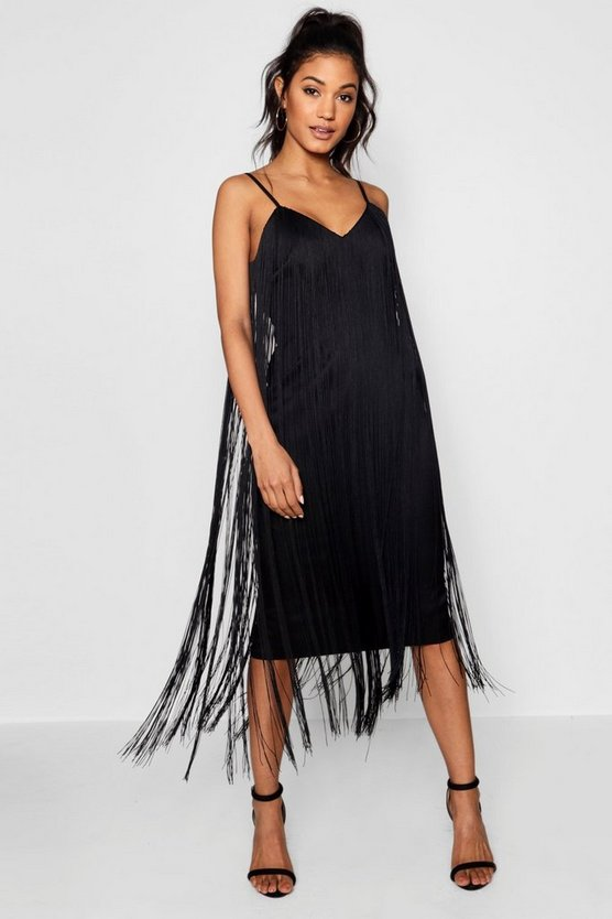 Womens Black Tassel Midi Dress