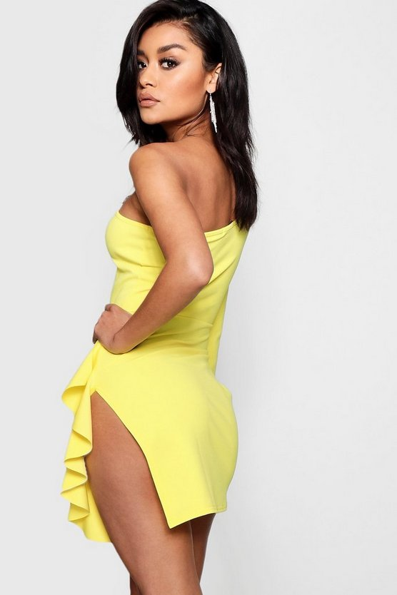 One Shoulder Ruffle Split Bodycon Dress