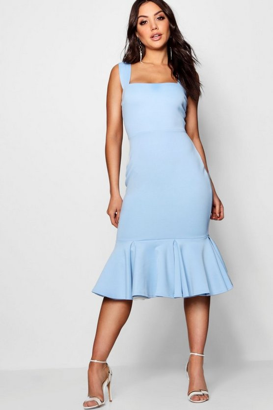 Square Neck Trumpet Hem Midi Dress