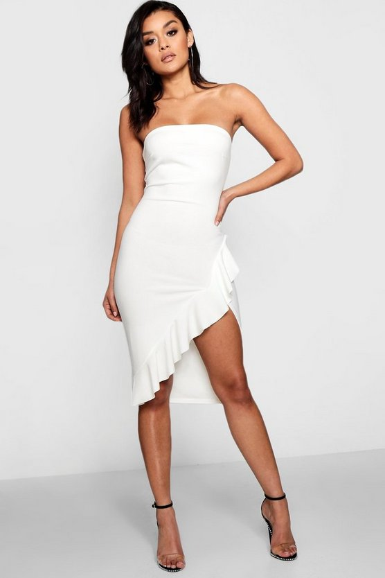 Bandeau Split Front Ruffle Midi Dress