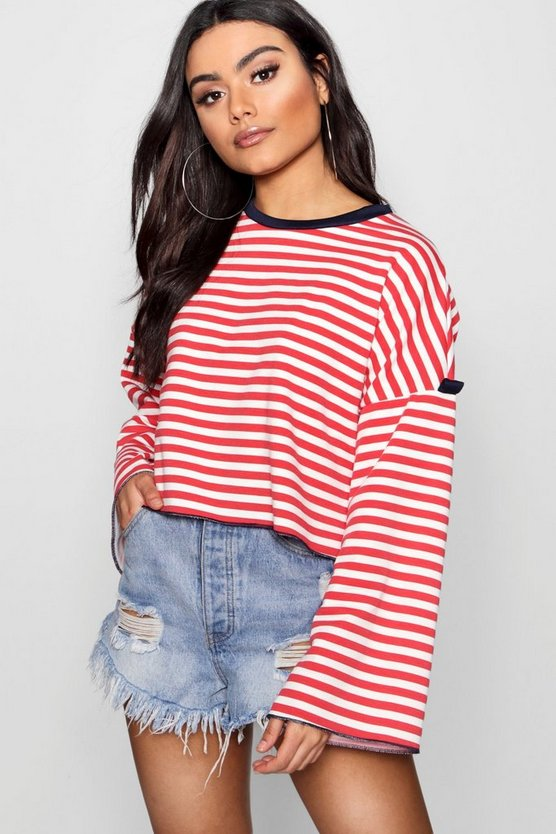 Womens Navy Stripe Contrast Rib Sweat Top
