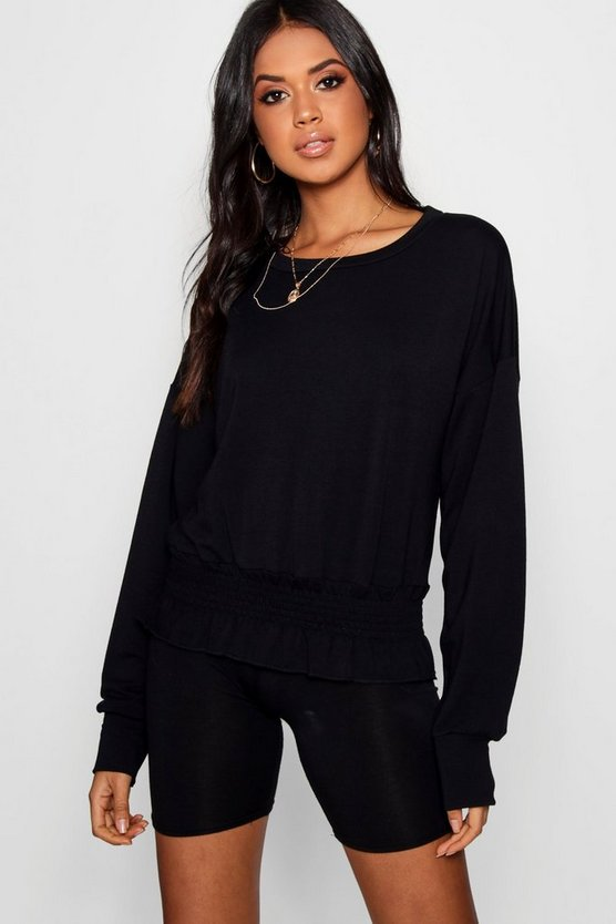 Shirred Hem Sweat Top