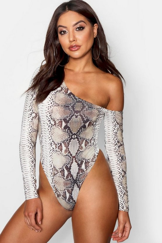 Womens Natural Kyha Asymmetric Snake Print Bodysuit