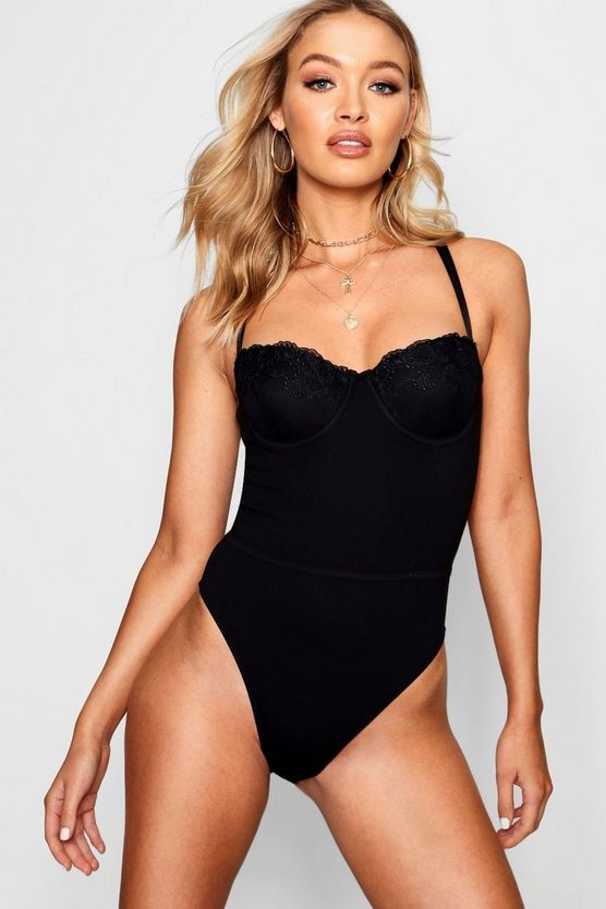 Double Strap Structured Cup Bodysuit, Black, ЖЕНСКОЕ