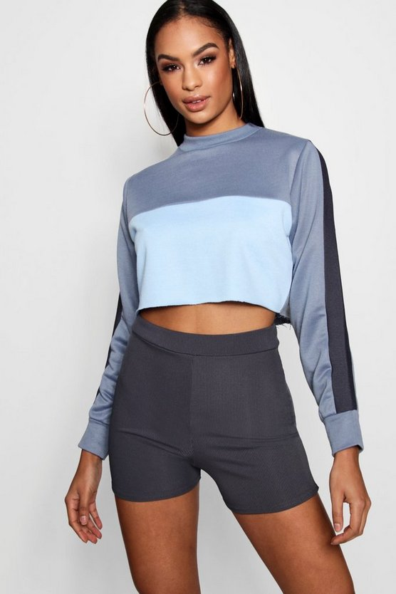 Cropped Panelled Sweat