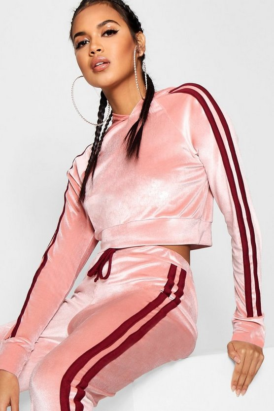 Side Stripe Velour Cropped Hoodie