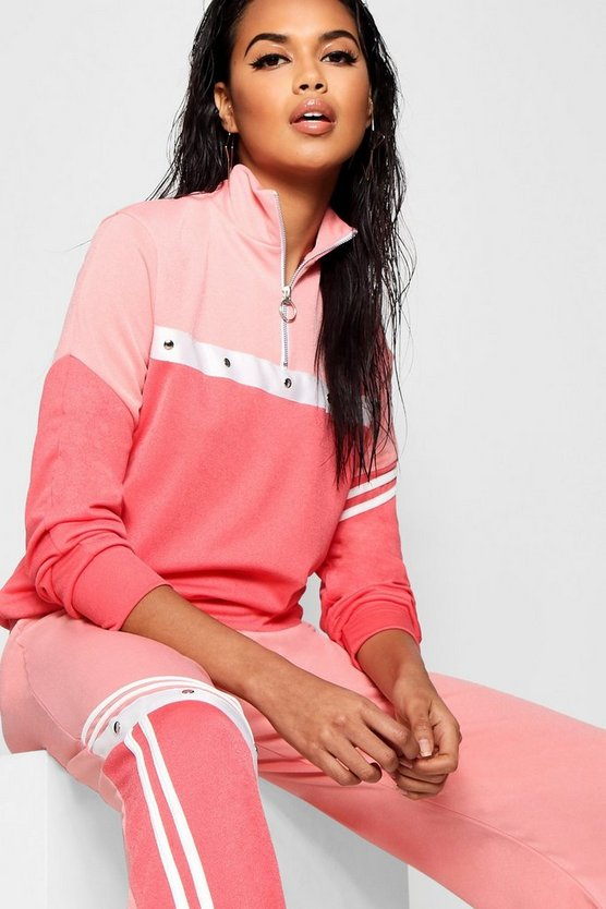 Coral blush Tonal Popper Stripe Track Top