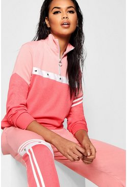 Womens Coral blush Tonal Popper Stripe Track Top