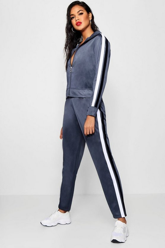 Womens Petrol Contrast Stripe Panel Track Pants