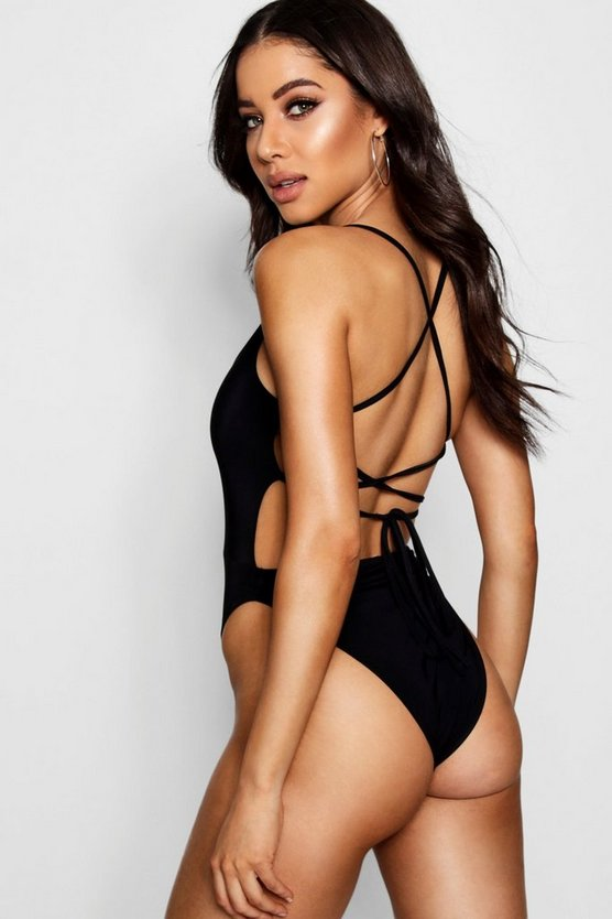 Slinky Lace Up Back Detail Bodysuit