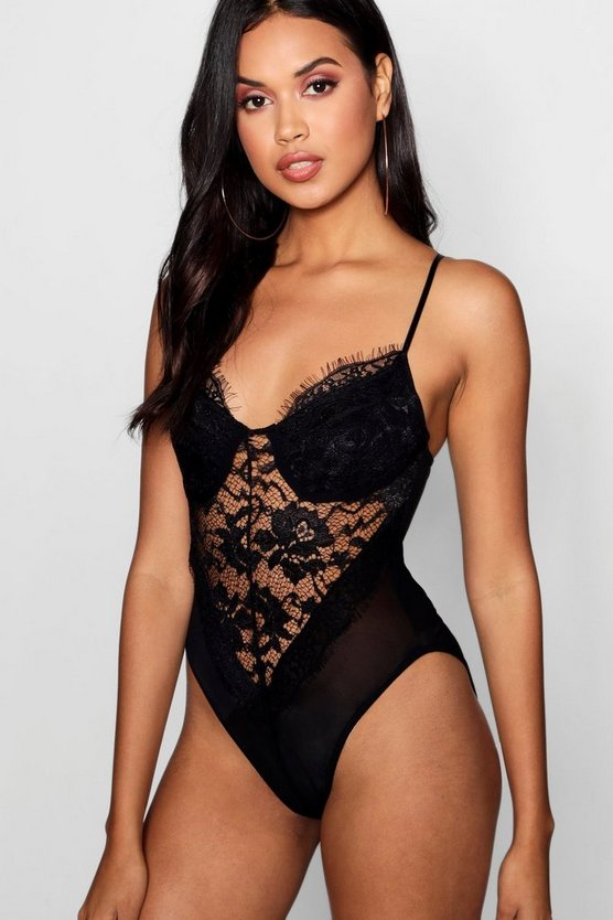 Lace & Mesh Panelled Bodysuit