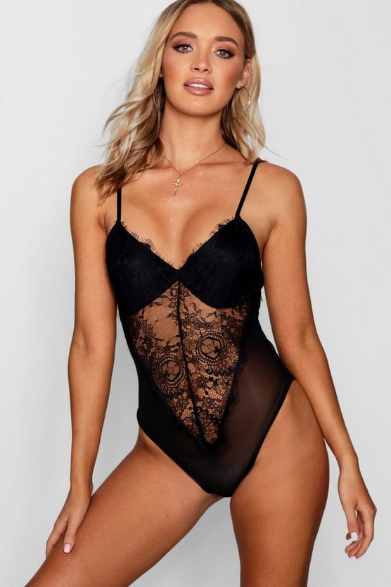 Womens Black Lace Panel Plunge Bodysuit