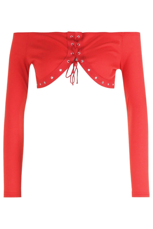 Top de corto con rojo adorno estilo cordones y ojales Bardot PPqawr70