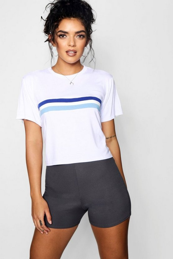 Boxy Sports Stripe Cropped Tee