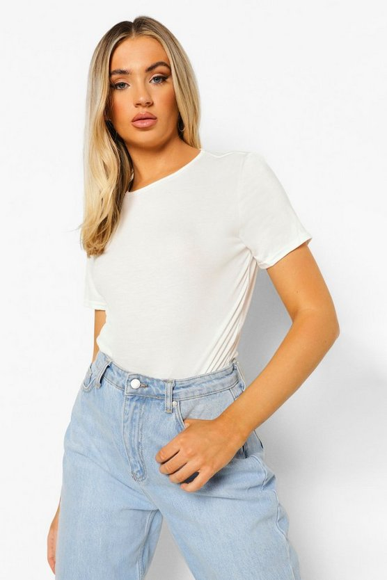 Womens White Basic T-Shirt Bodysuit