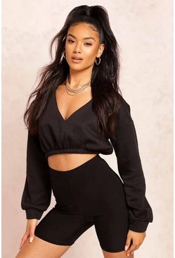 Black V Neck Crop Sweater
