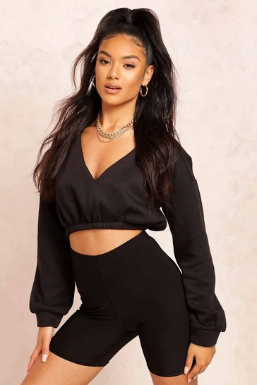 Womens Black V Neck Crop Sweater