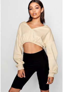 Womens Nude V Neck Crop Sweater