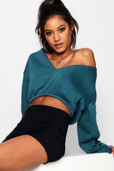 Womens Teal V Neck Crop Sweater