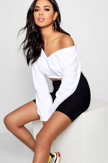 Womens White V Neck Crop Sweater