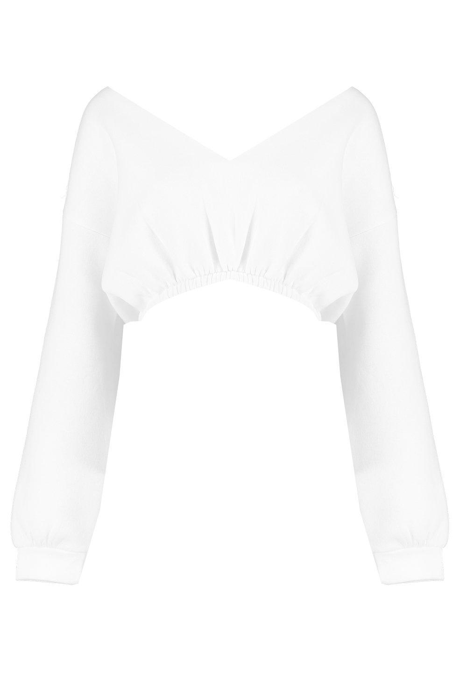 Suéter blanco en cuello pico corto con YxPXY8