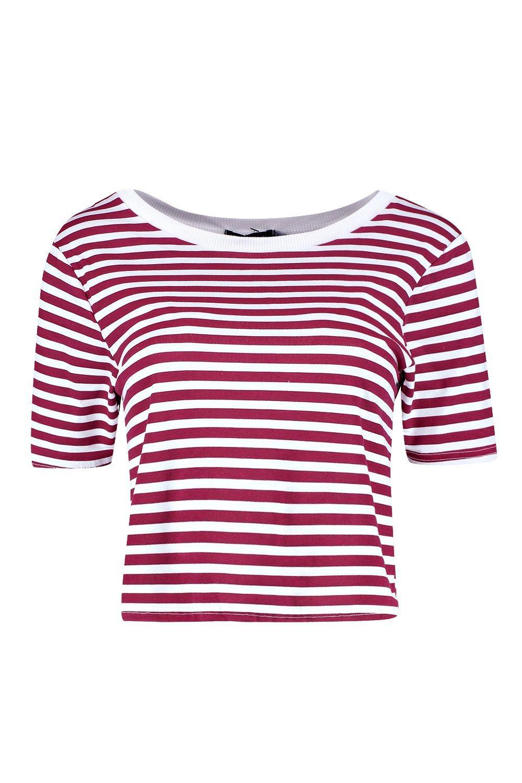 en en Camiseta canalé rojo contraste corta aPxHqn7w4