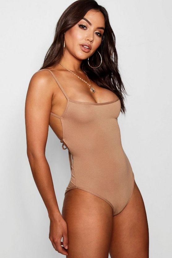 Tie Back Square Neck Bodysuit
