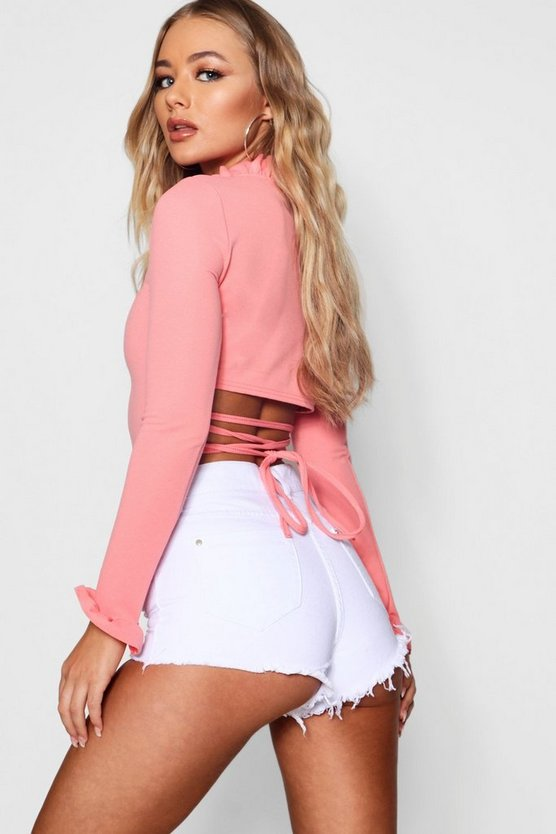 Coral Cut Out Strap Crop Top