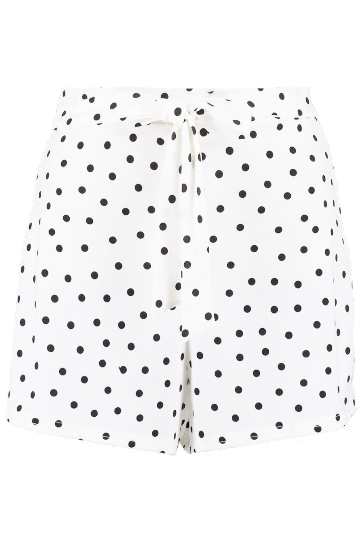 lunares cinturón con acampanados de Shorts blanco yf6Tqx1