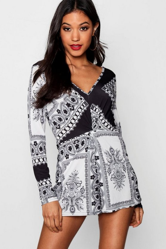 Womens Black Bandana Print Plunge Playsuit
