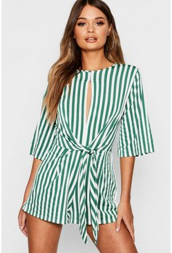 Green Stripe Twist Front Playsuit