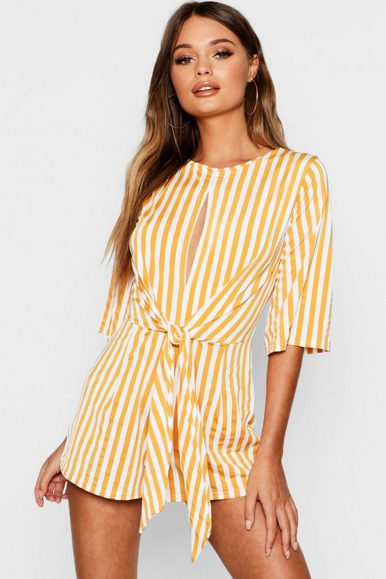Mustard Stripe Twist Front Playsuit