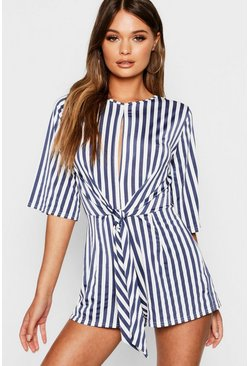 Womens Navy Stripe Twist Front Playsuit