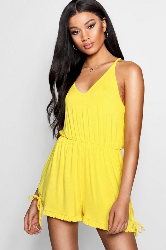 Strappy Ruffle Hem Playsuit