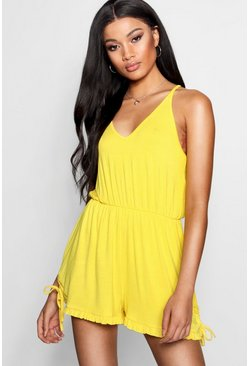Womens Yellow Strappy Ruffle Hem Playsuit
