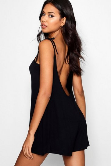 Black Low Back Tie Shoulder Playsuit