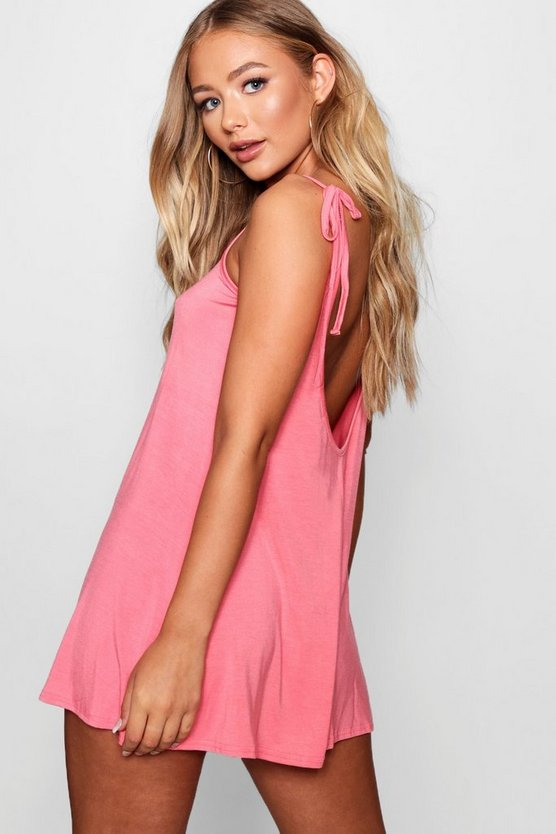 Womens Coral Low Back Tie Shoulder Playsuit