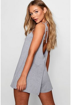 Womens Grey marl Low Back Tie Shoulder Playsuit